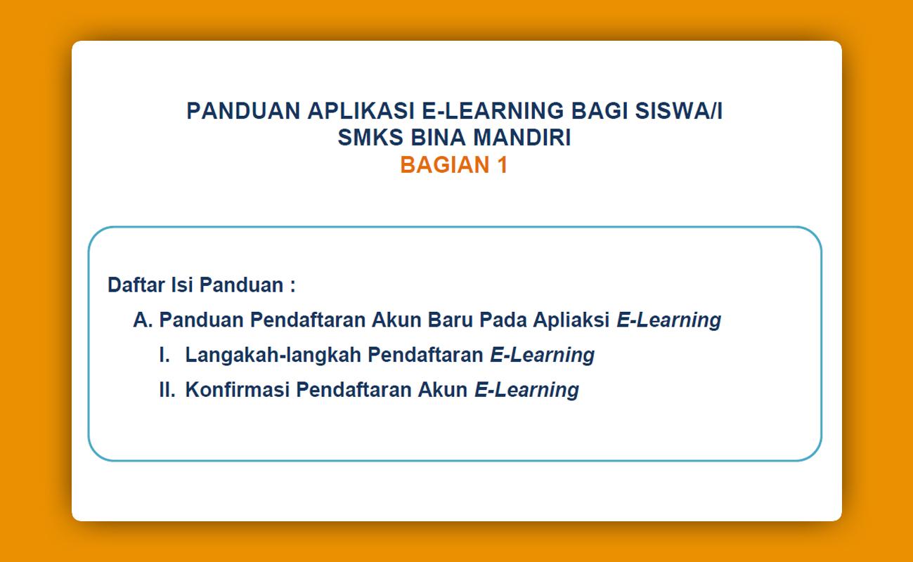 Panduan Pendaftaran Akun pada Aplikasi E-Learning SMKS Bina Mandiri